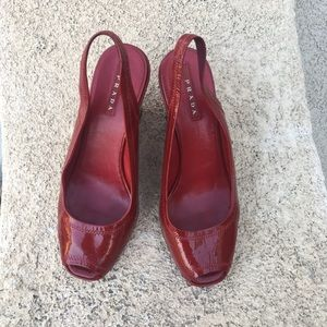 Prada red patent leather open toe wedges shoes 36